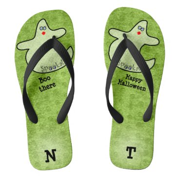 Halloween Themed Personalize: Halloween Diva Ghost on Lime Green Flip Flops