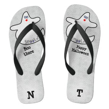 Halloween Themed Personalize: Halloween Diva Ghost on White Flip Flops