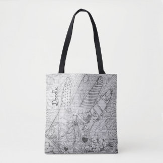 Personalize:  Hand Drawn Pencil Doodle Art B & W Tote Bag