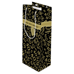 Personalize Happy 40th Birthday Gold Black W Wine Gift Bag