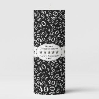 Personalize:  Happy 40th Birthday Party Theme Pillar Candle