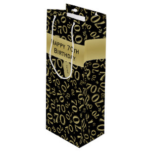 Personalize Happy 70th Birthday Gold Black W Wine Gift Bag