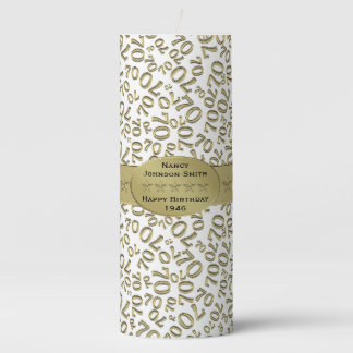 Personalize:  Happy 70th Birthday Party Theme Pillar Candle