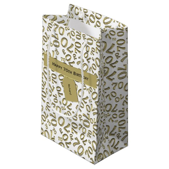 Personalize Happy 70th Birthday Party Theme S Small Gift Bag