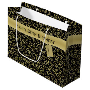 Personalize Happy 80th Birthday Party Theme L Large Gift Bag