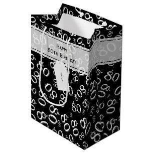 Personalize Happy 80th Birthday White Black M Medium Gift Bag