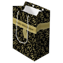 Personalize:  Happy 90th Birthday Gold/Black (M) Medium Gift Bag