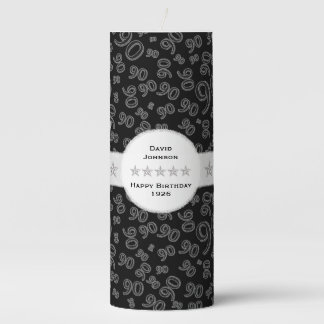 Personalize:  Happy 90th Birthday Party Theme Pillar Candle