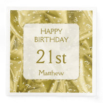 """Personalize: """"Happy Birthday"""" Gold Textured Paper Dinner Napkin"""