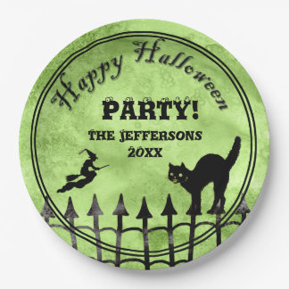 Personalize: Happy Halloween Cat, Witch Silhouette Paper Plate