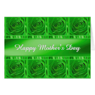 """Personalize """"Happy Mother's Day"""" Green Roses Card"""