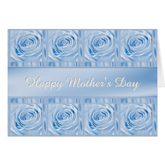 """Personalize """"Happy Mother's Day"""" Light Blue Rose Card"""