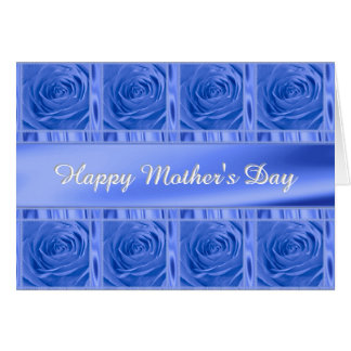 """Personalize """"Happy Mother's Day"""" Medium Blue Roses Card"""
