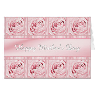 """Personalize """"Happy Mother's Day"""" Pink Roses Card"""