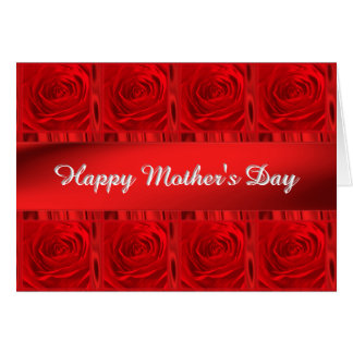 "Personalize ""Happy Mother's Day"" Vibrant Red Roses Card"