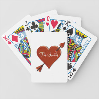 (Personalize) Heart & Arrow Happy Valentine's Day Bicycle Playing Cards