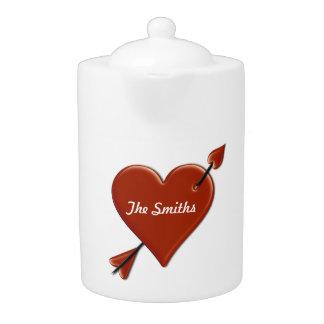 (Personalize) Heart & Arrow Happy Valentine's Day Teapot