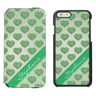 Personalize Hearts of Green Tiles in Offset Rows iPhone 6/6s Wallet Case