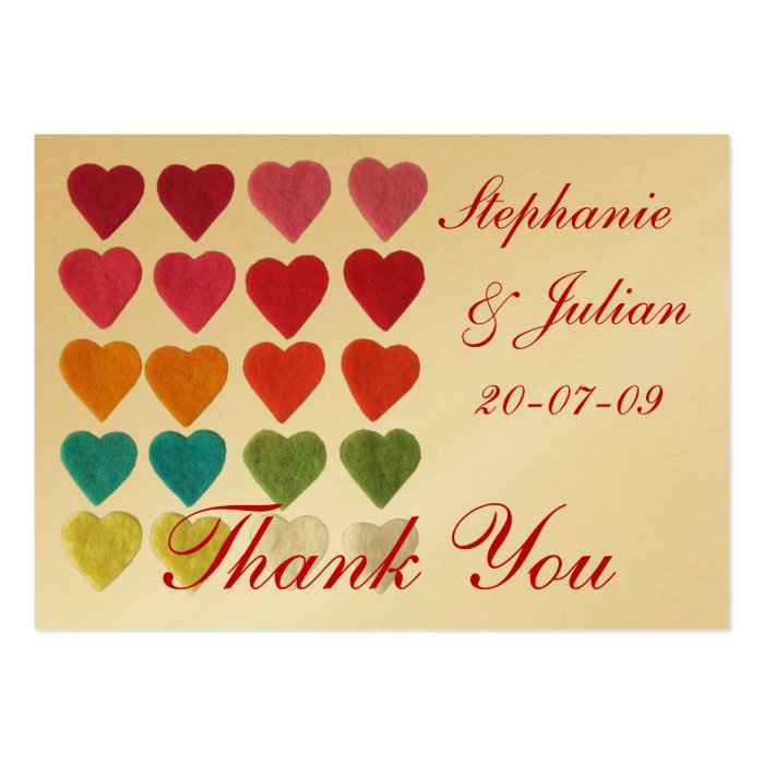 Personalize Hearts Thank You Wedding Cards