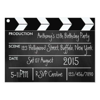 Personalize Hollywood Movie Theme Party Chalkboard Card