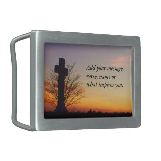 (Personalize) Holy Cross at Sunset Rectangular Belt Buckle