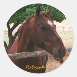 Personalize Horse Classic Round Sticker