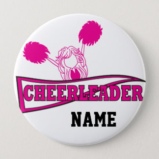 Personalize Hot Pink Cheerleader Girl Pinback Button