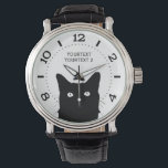 """Personalize I See Cat Click Pick Your Color Dial Wrist Watch<br><div class=""""desc"""">For Cat Lovers, a cat expression scene where you can choose your own selection for any background color decor you would like for this personalized fashion watch. Easily change the background color of this cat design from the preset white to any color of your choice in one step. Just click...</div>"""