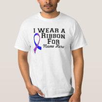 Personalize I Wear a Blue and Purple Ribbon T-Shirt