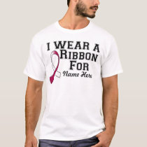 Personalize I Wear a Burgundy and White Ribbon T-Shirt