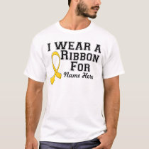 Personalize I Wear a Gold Ribbon T-Shirt