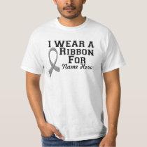Personalize I Wear a Gray Ribbon T-Shirt
