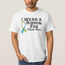 Personalize I Wear a Green and Teal Ribbon T-Shirt
