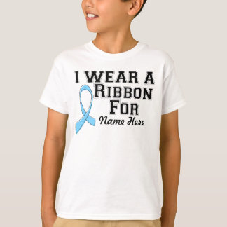 Personalize I Wear a Light Blue Ribbon T-Shirt