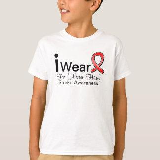 Personalize I Wear a Stroke Awareness Ribbon T-Shirt