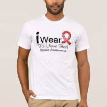Personalize I Wear a Stroke Awareness Ribbon T-Shirt