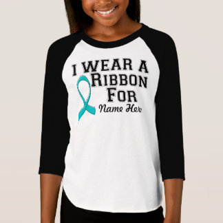Personalize I Wear a Teal Ribbon T-Shirt