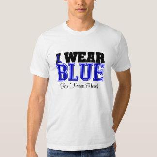 Personalize I Wear Blue Ribbon Colon Cancer T-shirt