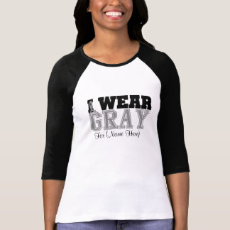 Personalize I Wear Gray Ribbon Brain Cancer T-shirt