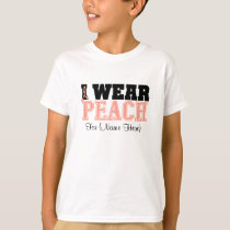 Personalize I Wear Peach Ribbon Uterine Cancer T-Shirt