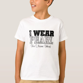 Personalize I Wear Pearl Ribbon Lung Cancer T-Shirt
