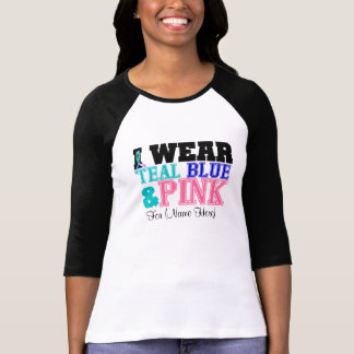 Personalize I Wear Teal Pink & Blue Thyroid Cancer Tshirt