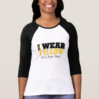 Personalize I Wear Yellow Ribbon Testicular Cancer T-shirt