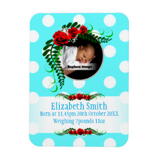 Personalize Ice Blue Baby Girl Memento Rose Pearls Rectangular Photo Magnet