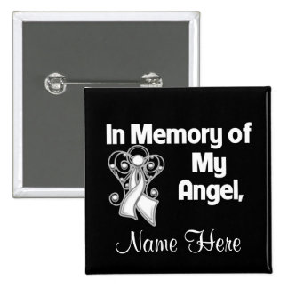 Personalize In Memory of My Angel Bone Cancer 2 Inch Square Button