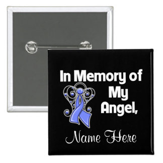Personalize In Memory of My Angel Stomach Cancer 2 Inch Square Button
