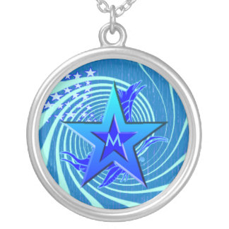 personalize initial customize gift round pendant necklace