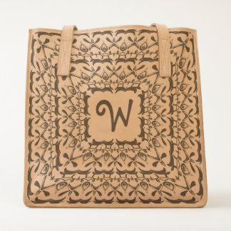 Personalize:  Initial in Square Symmetric Filigree Tote