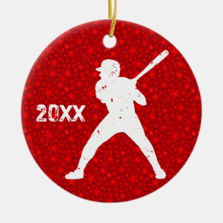 Personalize it, Baseball Double-Sided Ceramic Round Christmas Ornament