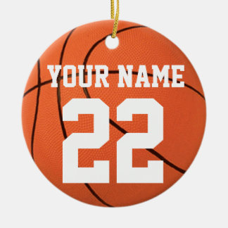 Personalize It, Basketball Double-Sided Ceramic Round Christmas Ornament